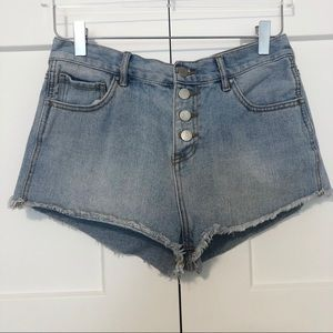 Bullhead Button Fly Denim Shorts Light Wash Frayed